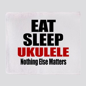 Eat Sleep Ukulele Throw Blanket