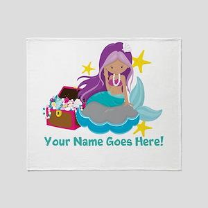 Purple Mermaid Throw Blanket