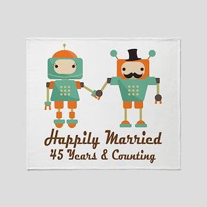 45th Anniversary Vintage Robot Coupl Throw Blanket