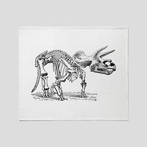 Triceratops Skeleton Throw Blanket
