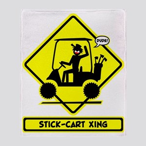 GOLF CART DUDE yellow placard Throw Blanket
