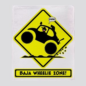BAJA BUG WHEELIES road sign Throw Blanket