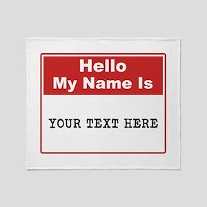 Custom Name Tag Throw Blanket