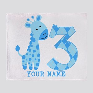 Blue Giraffe 3rd Birthday Personalized Throw Blank