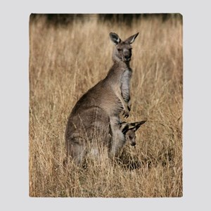 Kangaroos in Australian Bush Throw Blanket