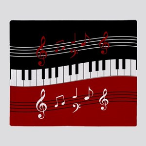 Stylish Piano keys and musical notes Throw Blanket