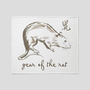 Vintage Year Of The Rat Throw Blanket