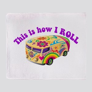 How I Roll Hippie Van Throw Blanket