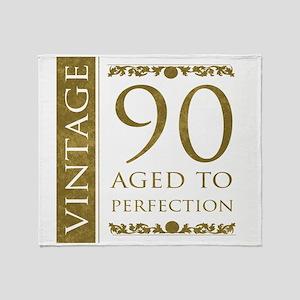 Fancy Vintage 90th Birthday Throw Blanket