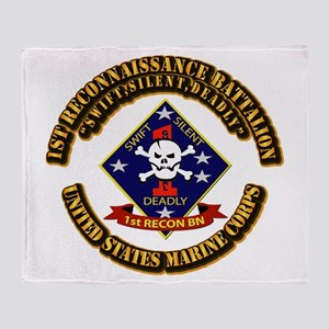 1st - Reconnaissance Bn With Text USMC Throw Blank