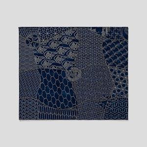 Sashiko-style Embroidery Throw Blanket