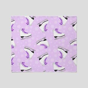 Purple Figure Skating Pattern Throw Blanket