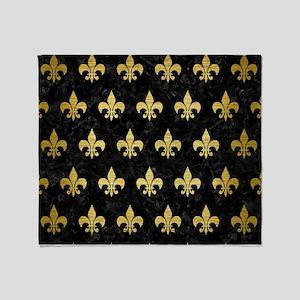 ROYAL1 BLACK MARBLE & GOLD BRUSHED M Throw Blanket