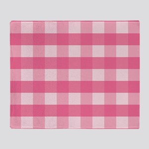 Gingham Checks Pink Throw Blanket