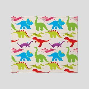 Cool Colorful Kids Dinosaur Pattern Throw Blanket
