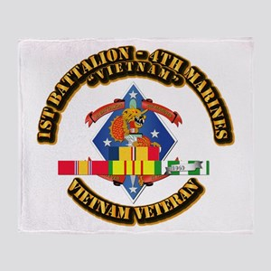 1st Bn - 4th Marines w VN SVC Ribbon Throw Blanket
