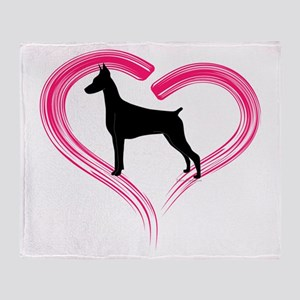 Heart My Doberman Throw Blanket