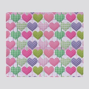 Gingham Hearts Pastel Pattern Throw Blanket