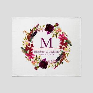 Boho Wreath Wedding Monogram Throw Blanket