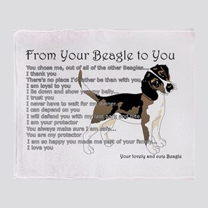 A Beagle's Letter To You Throw Blanket