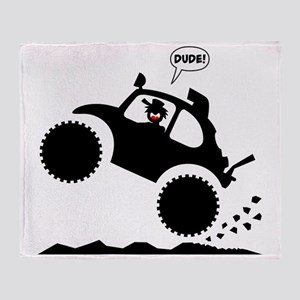 BAJA BUG WHEELIES black image Throw Blanket