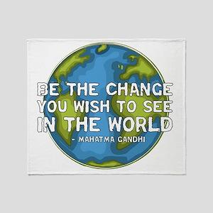 gandhi_earth_bethechange_dark Throw Blanket