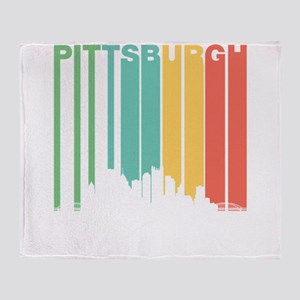 Vintage Pittsburgh Cityscape Throw Blanket