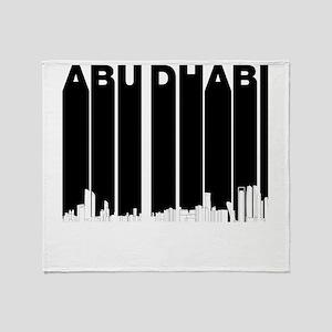 Retro Abu Dhabi Skyline Throw Blanket