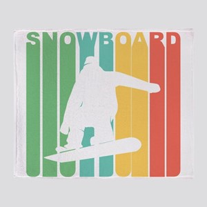 Retro Snowboard Throw Blanket
