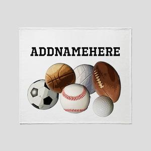 Sports Balls, Custom Name Throw Blanket
