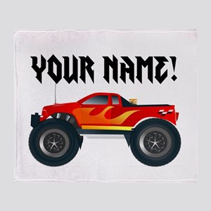 Red Monster Truck Personalized Throw Blanket