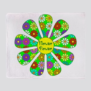 Cool Flower Power Throw Blanket