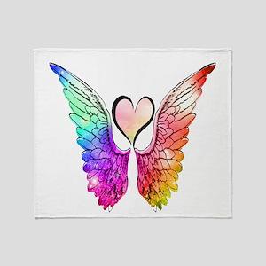 Angel Wings Heart Throw Blanket