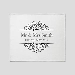 Custom Couples Name and wedding date Throw Blanket