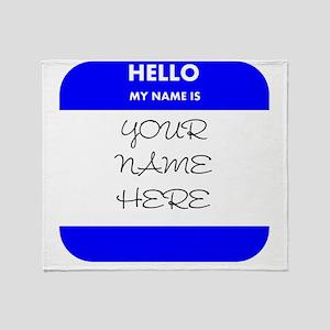 Custom Blue Name Tag Throw Blanket