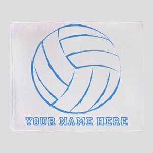 Custom Blue Volleyball Throw Blanket