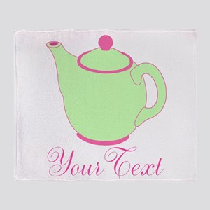 Personalizable Pink and Green Teapot Throw Blanket