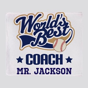 Personalized Baseball Coach Gift Throw Blanket