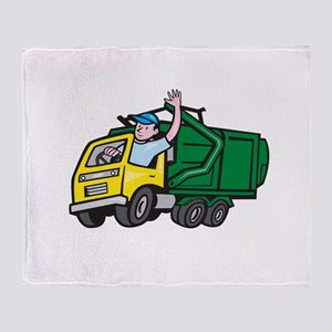 Garbage Truck Driver Waving Cartoon Throw Blanket