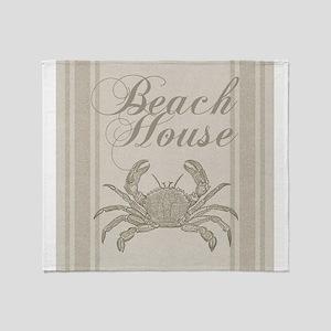 Beach House Crab Sandy Coastal Decor Throw Blanket