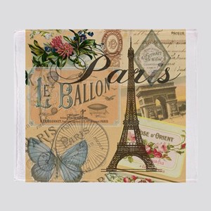 Paris France Vintage Europe Travel Throw Blanket