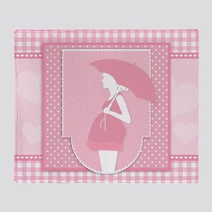 pink pregnancy Throw Blanket