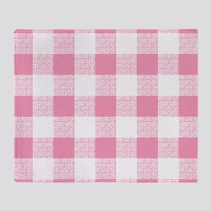 Pink Gingham Pattern Throw Blanket