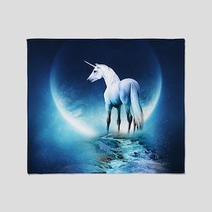 White Unicorn Throw Blanket