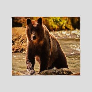 Bear On Log Throw Blanket