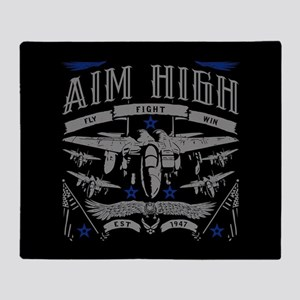 Aim High Fly Fight Win Throw Blanket