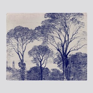 Ancient Tree Sketches in Indigo Throw Blanket