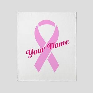 Custom Pink Ribbon Throw Blanket