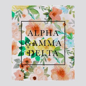 Alpha Gamma Delta Floral Throw Blanket