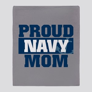 US Navy Proud Navy Mom fb Throw Blanket